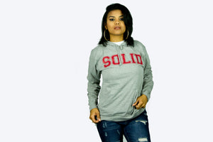 """Solid"" Grey/Red Lightweight Hoodie"