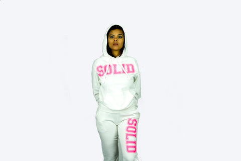 """Solid"" White/Pink Sweatsuit"