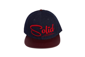 """Solid"" Navy/Red Denim"