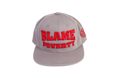 """Blame Poverty"" Grey/Red Cap"
