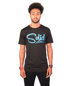 """Solid"" Black/Teal T-Shirt"