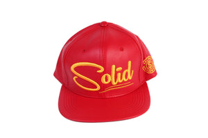 """Solid"" Red Leather/Gold"