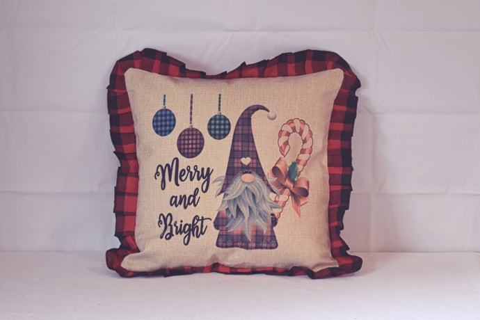 Merry and Bright gnome pillow