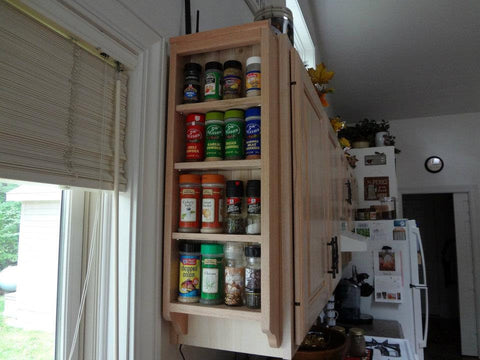 End of Cabinet wood spice rack.