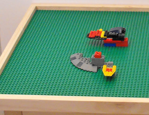 Extra Large lego table with 8 lego plates and tall 29 inch legs.
