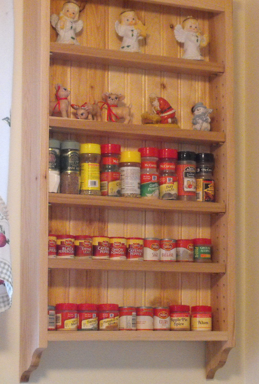 Spice Rack, Kitchen Shelf, Hickory Kitchen