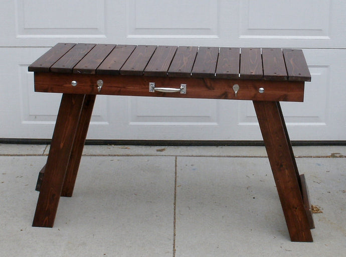 Folding Grill Table Stained