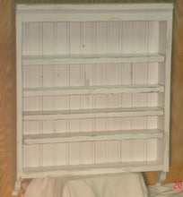 Rustic, shabby chic, white display shelf and spice rack