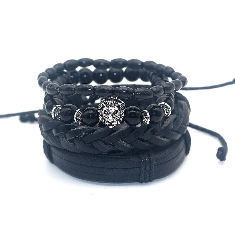 black leather bracelet with silver lion head pendant