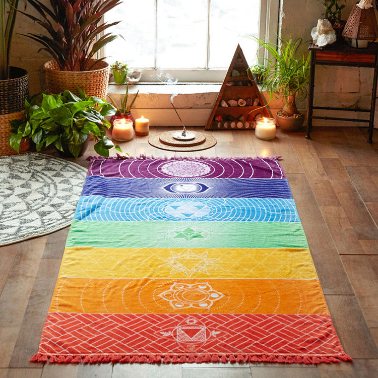7 rainbow colored mandala in a living room