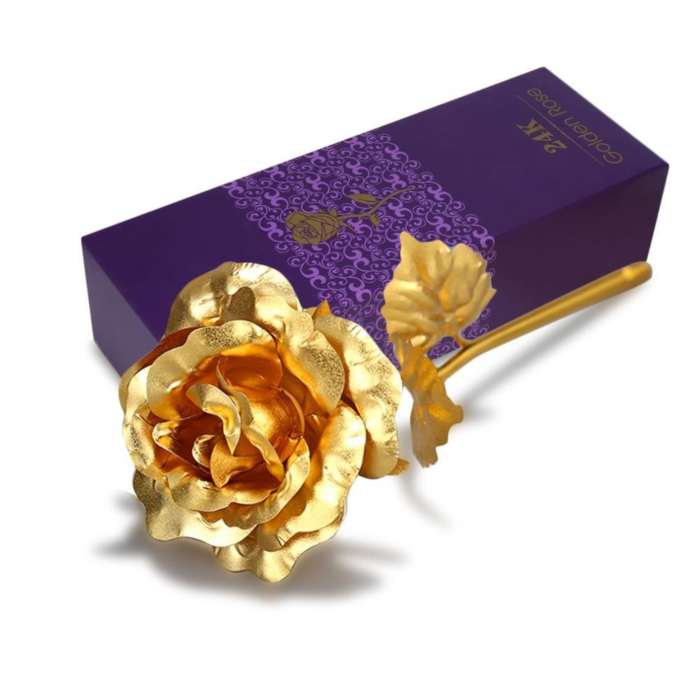 gold plated rose with purple box