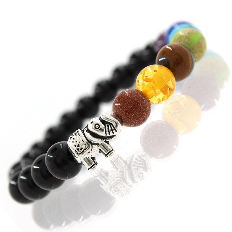 7 chakra black and multiple colored beads bracelet