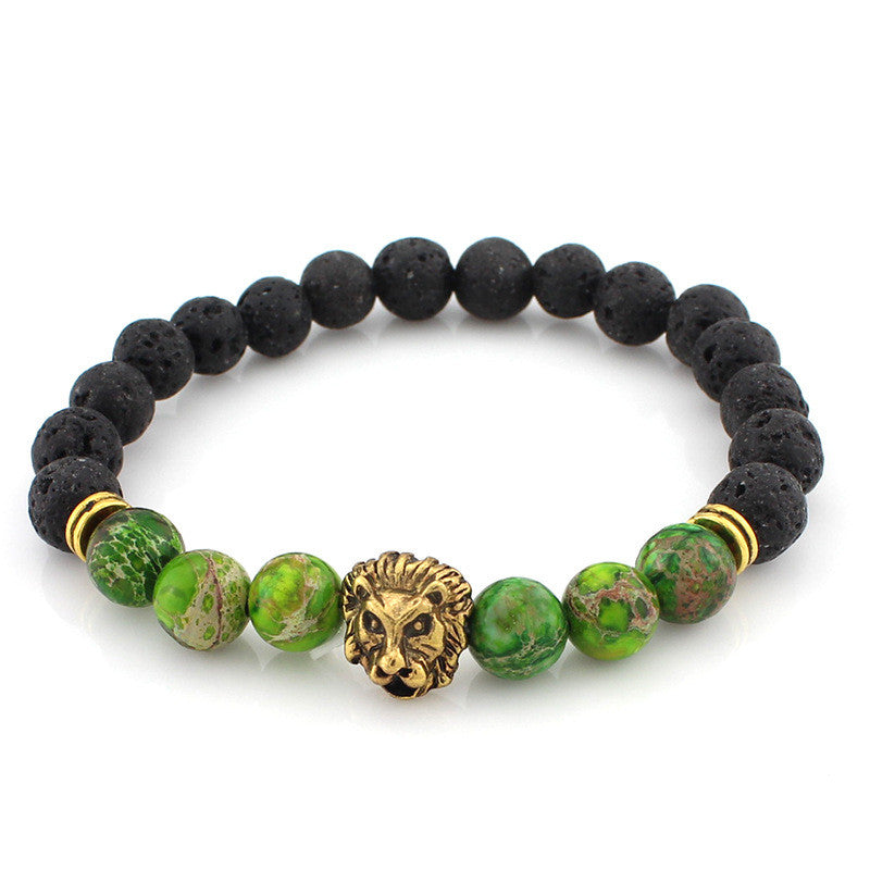black and green bead bracelet with gold lion head pendant