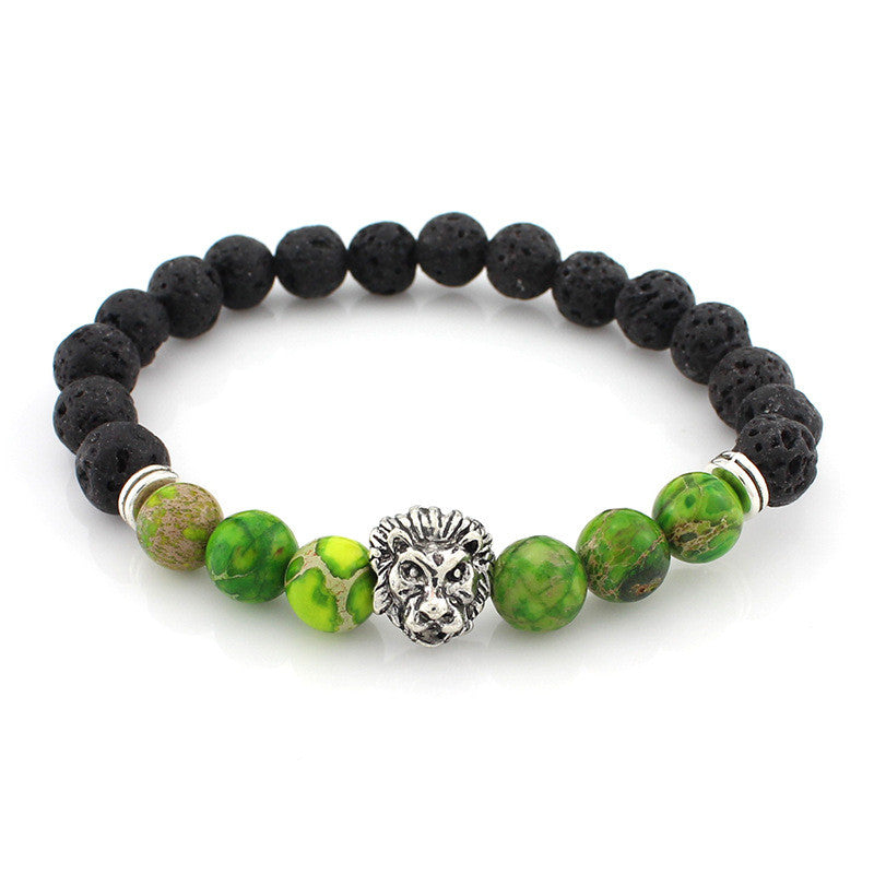 black and green bead bracelet with silver lion head pendant