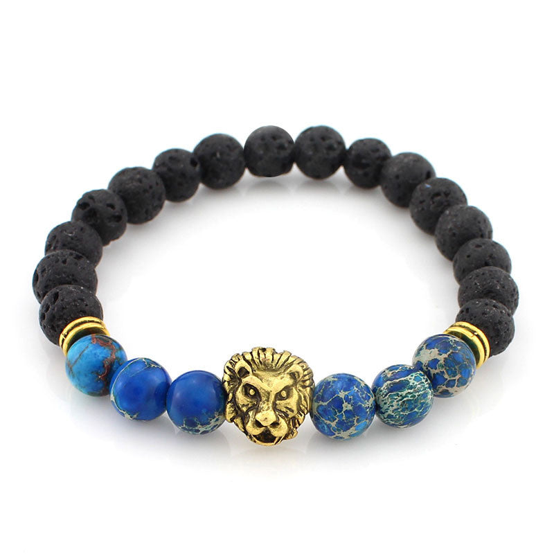 black and blue bead bracelet with gold lion head pendant