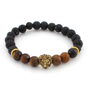 black and wooden bead bracelet with gold lion head pendant