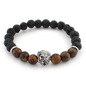 black and wooden bead bracelet with silver lion head pendant