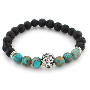 black and turquoise bead bracelet with silver lion head pendant