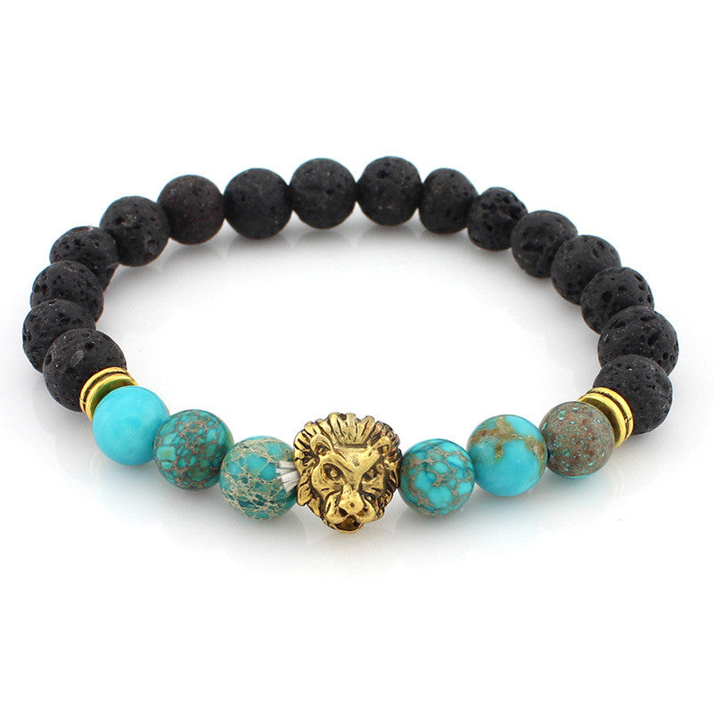 black and turquoise bead bracelet with gold lion head pendant