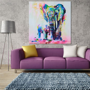 elephant painting canvas hanging in living room with violet couch
