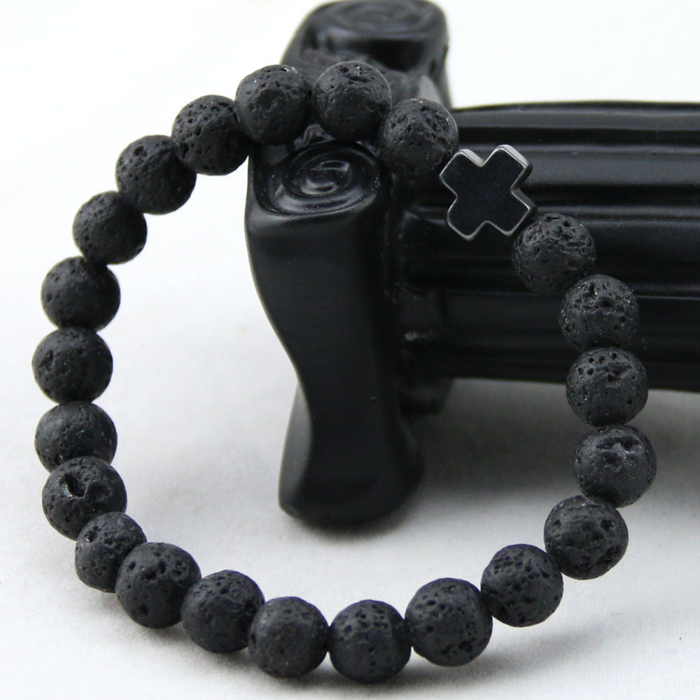 black bead bracelet with black cross pendant