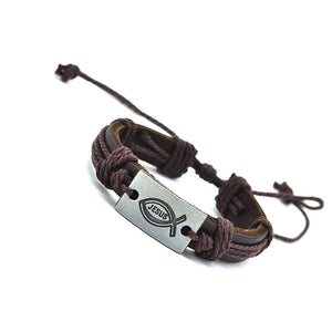 brown leather bracelet with fish pendant