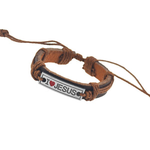 brown leather bracelet with i love jesus slogan pendant