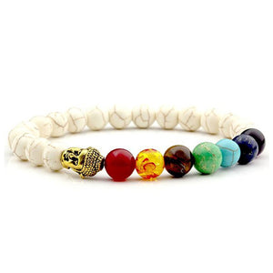 7 chakra multiple colored stone bracelet with white beads