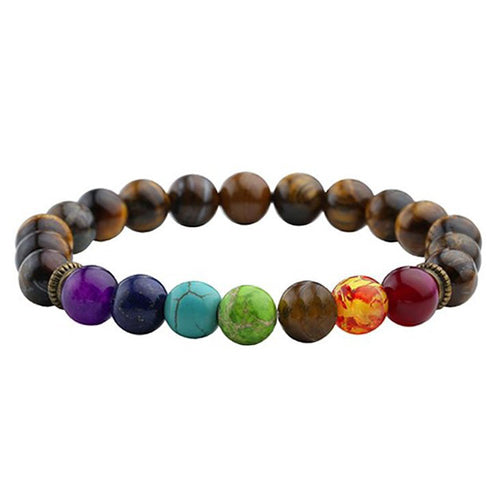 7 chakra multiple colored stone bracelet with brown beads
