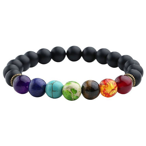 7 chakra multiple colored stone bracelet with black beads