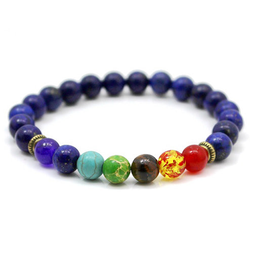 7 chakra multiple colored stone bracelet with blue beads