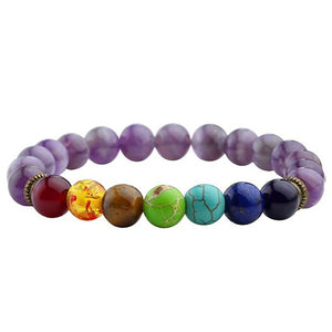 7 chakra multiple colored stone bracelet with purple beads