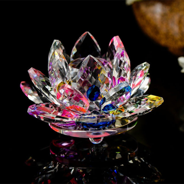 80mm quartz crystal pink and clear lotus flower