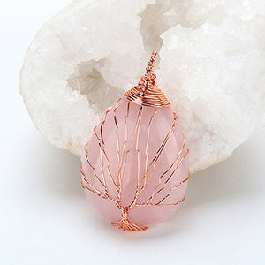 pink tree of life pendant