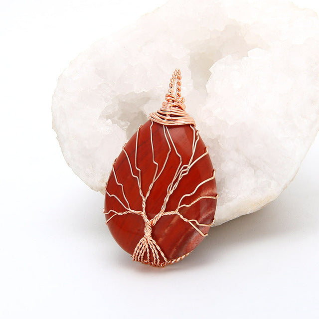 red of tree of life pendant