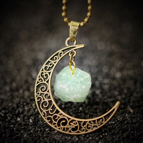 gold necklace moon pendant with crystal stone