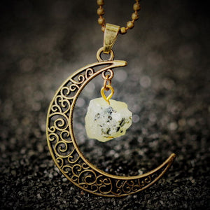 gold necklace moon pendant with green crystal stone