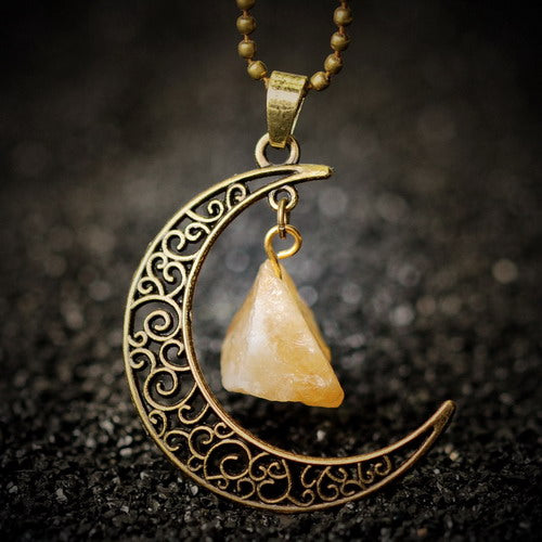 gold necklace moon pendant with yellow crystal stone