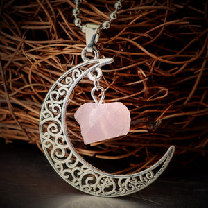 gold necklace moon pendant with pink crystal stone