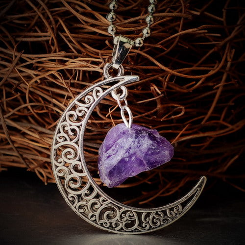 gold necklace moon pendant with violet crystal stone