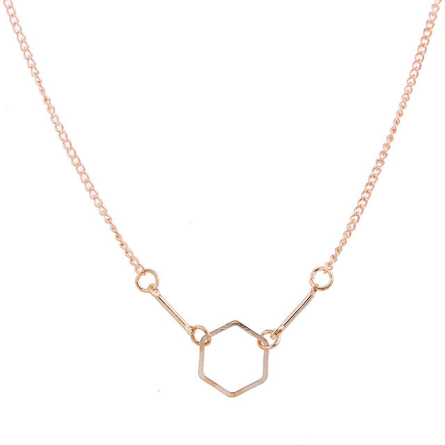 New Gold-color Bones Spiritual Wisdom Hexagonal Alloy Clavicle Pendant Short Necklace
