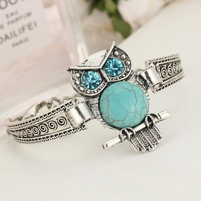 turquoise owl pendant with silver bracelet