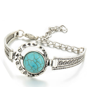 turquoise pendant with silver bracelet