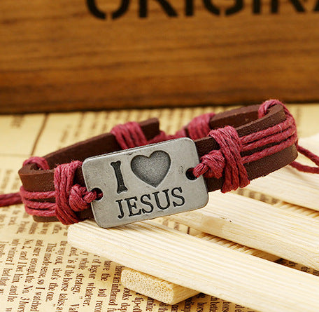 2017 New Fashion Letter I Love Jesus Leather Bracelets Wholesale Christian Religion European and American Style Jewelry