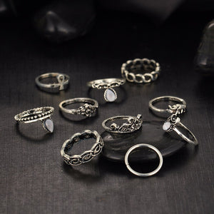 8 piece silver ring set