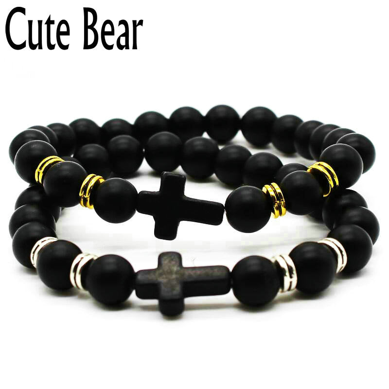 Cute Bear Brand Cross Bracelet 8 mm Natural Frosted Matte Stone Beads Bracelets Christian Faith Charm Bracelet Jewelry Wholesale