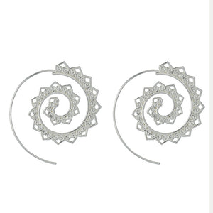 pair of silver spiral earrings