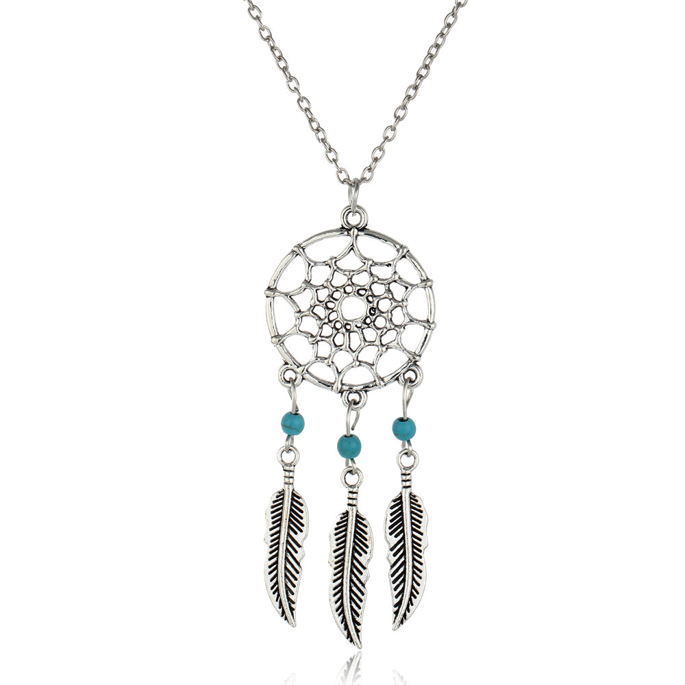 silver dream catcher pendant necklace with 3 feathers and turquoise beads