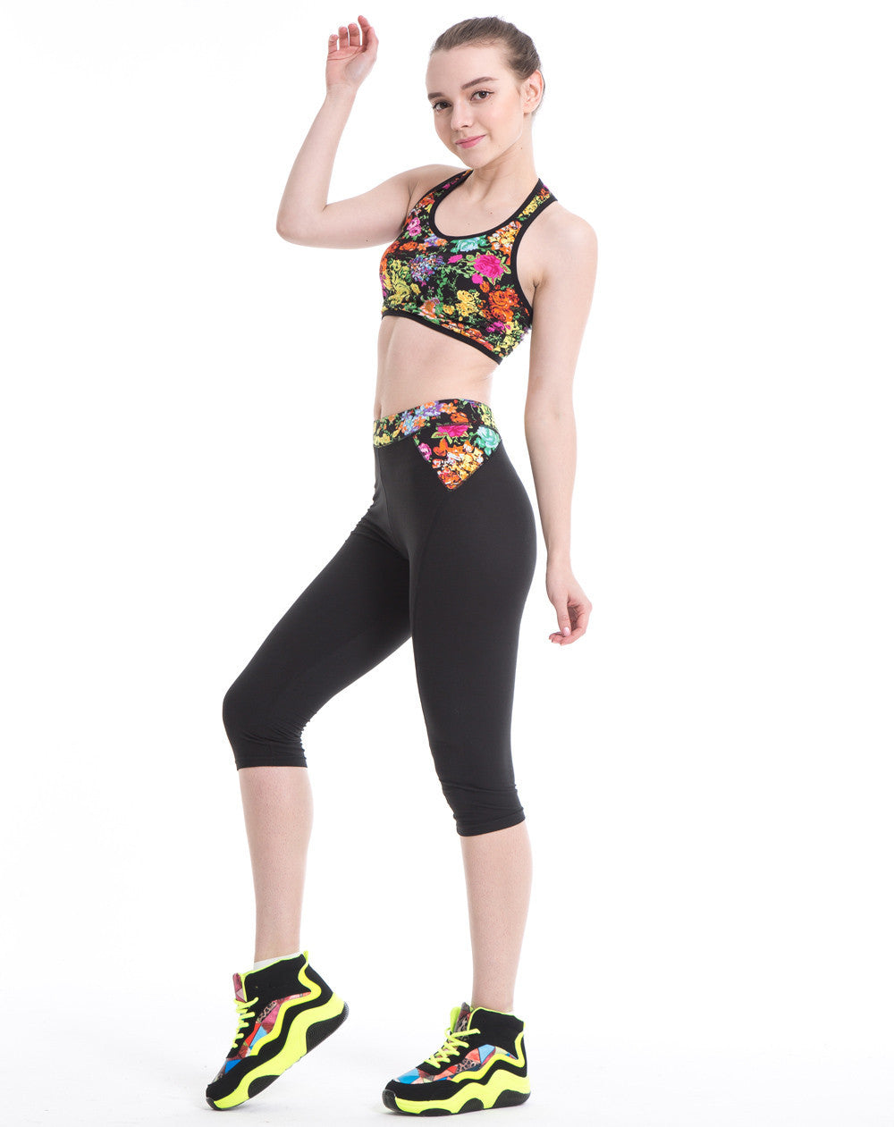 Yoga Flower Printed Stretch Pants