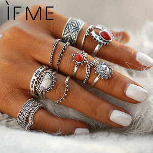 IF ME Vintage Bohemian Midi Finger Rings Set for Women Moon Sun Ethnic Red Natural Stone Knuckle Rings Jewelry Gift 14pcs/set